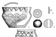 Рис. 10. Курганный могильник Мессер V. Курган 3. Находки из насыпи (3) и погребений: 1 (1), 2 (2), 3 (4). 1, 3, 4 – глина; 2 – бронза.