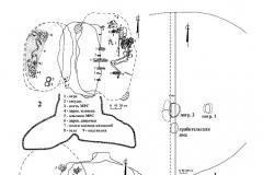 Рис. 11. Курганный могильник Мессер V. 1 – курган 4; 2 – погребение 1; 3 - погребение 2.
