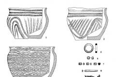 Рис. 12. Курганный могильник Мессер V. Курган 4. Находки из погребения 1 (1, 2) и 2 (3- 10). 1-4 – глина; 5, 7, 8, 10 – кость; 6 – сурьма, 9 – бронза.