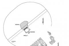 Рис. 7. Курганный могильник Мессер V. 1 – курган 2; 2 – разрушенное погребение из кургана 2.