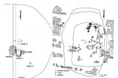 Рис. 9. Курганный могильник Мессер V. 1 – курган 3; 2 – погребение 1; 3 - погребение 2.