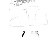Рис. 2. Горбатый мост. Курган 13. 1 – погребение 10; 2 – сосуд из погребения 10