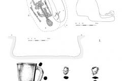 Рис. 4. Горбатый мост. Курган 46. 1 – погребение 3; 2 – сосуд из погребения; 3 – альчик; 4 – обломок железного предмета