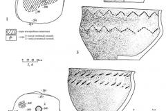 Рис. 2. Курганный могильник Казенный, курган 1. 1 – погребение 1;  2, 3 – керамика из погребения 1; 4 – погребение 4; 5, 6 – керамика из погребения 4