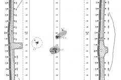Рис. 4. Курганный могильник Тингутинский. Курган  2. А – планиграфия; Б – западный фас центральной бровки; В – восточный фас центральной бровки