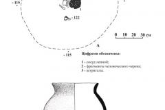 Рис. 5. Курганный могильник Тингутинский. Курган 2. Погребение 1. А – план погребения; Б – лепной сосуд