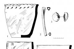 Рис. 48. Новопокровка 2, курган 4. Находки из погребений 5 (1-3), 8 (4), 9 (5) и 10 (6).