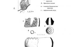 Рис. 5. Материалы из кургана № 2 на острове «Курганный»: 1 – погребение 2.