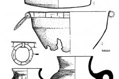 Рис. 1. Погребение на р. Суслянка. Бронзовая (1-2) и гончарная (3-4) посуда.