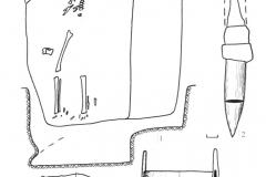 Рис. 3. Погребение на р. Суслянка: 1,7 –железо; 2 – бронза, железо, дерево; 3 – кость, железо, бронза; 4,6,10-14 – бронза; 5 – кость; 8 – железо, бронза; 9 – серебро; 15 – алебастр; 16 – камень.