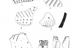 Рис. 5. Разнобрычка. Раскоп 1. Керамика (1-6), изделия из кварцита (8, 9, 11) и кремня (10), обнаруженные в районе погребения 1 и керамика, обнаруженная выше погребения 1 (7)