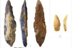 Рис. 16. Стоянка Непряхино, раскоп 2016 года. 1 - лимас остроконечный, горизонт К-IIА; 2 - скребло конвергентное миниатюрное, горизонт К-IIГ