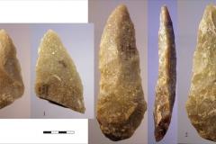 Рис. 24. Стоянка Непряхино, раскоп 2016 года. Бифасы, 1 - горизонт К-IIIД; 2 - горизонт К-IIIЖ