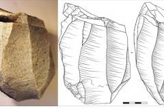 Рис. 5. Стоянка Непряхино, раскоп 2016 года. Горизонт Б-IА, нуклеус призматический и апплицирующийся к нему скол радикальной подправки площадки