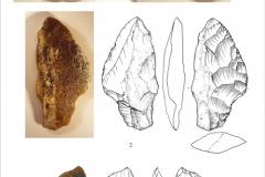 Рис. 9. Стоянка Непряхино, раскоп 2016 года. Бифасы - 1, 2 - горизонт К-IБ, 3 - горизонт К-IВ