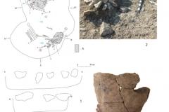 Рис. 4. Могильник Невинномысский I, курган 13: 1– план погребения 5 (1 - 9 – украшения, 10 – древесный тлен, 11 – древесный уголь, А – темно-коричневый тлен с вкраплениями древесного угля); 2 – каменный заклад погребения 5 (вид с севера); 3 – сосуд из погребения 5
