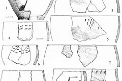 Рис. 2. Материалы поселения Нижняя Красавка. Сосуды срубной культуры из заполнения жилищного котлована