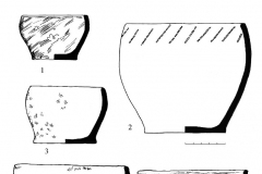 Рис. 17. Новопокровка 1, курган 1. Находки из погребений. 1, 2 – погребение 1; 3, 4 – погребение 2; 5, 6 – погребение 3. 1-5 – керамика; 6 – кость.