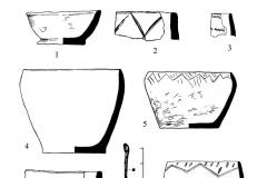 Рис. 20. Новопокровка 2, курган 1. Находки в насыпи (1, 2), погребении 1 (3-7), погребе- нии 2 (8) и погребении 3 (9-10). 7 – бронза; остальное – керамика.