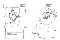 Рис. 24. Новопокровка 2, курган 1. Планы погребений 6 (1) и 7(2) и керамика из погребений 7 (3, 4) и 8 (5, 6).