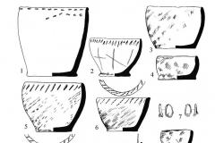 Рис. 32. Новопокровка 2. Находки из погребений: 1 – к. 1, п. 24; 2, 3 – к. 1, п. 25: 4 – к. 2, п. 1; 5-7 – к. 2, п. 2; 8-10 – к. 2, п. 3; 11, 12 – к. 2 п. 4; 13-16 – к. 2, п. 5. 7, 15, 16 - бронза; 11 - бронза, кость; остальное - керамика.