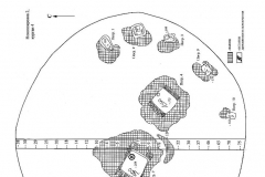 Рис. 43. Новопокровка 2. План кургана 4 (1) и стратиграфия (2).