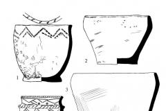 Рис. 45. Новопокровка 2, курган 4. 1 – сосуд из погребения 1; 2-5 – сосуды 1-4 из погребения 2; 6 – бронзовые браслеты из погребения 2; 7 - сосуд из погребения 3.