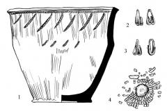 Рис. 47. Новопокровка 2, курган 4. Комплекс находок из погребения 4. 1 – сосуд; 2, 3 – подвески из серебра; 4 – украшения на кожаной основе; 5-7 – бляшки; 8-15 – пронизки различных типов; 16 – остаток кожаной основы. 4-15 – бронза, золотая фольга.