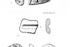 Рис. 15. Орошаемое. Находки из раскопа 2. 1 – серпентенит (?), 2 – песчаник, 3 – кварцит