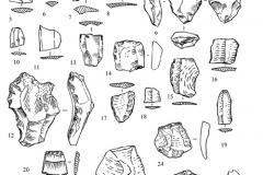 Рис. 18. Орошаемое. Находки из раскопа 2 (1-13) и подъемный материал (14-25). 8, 14-19, 23-25 – кварцит; остальное – кремень