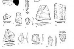 Рис. 5. Орошаемое. Находки из раскопа 1. 1, 2 – керамика; 4, 8, 18 – кремень; остальное – кварцит