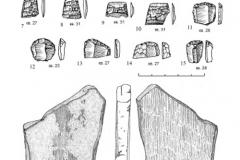 Рис. 23. Раскоп Алгай 1. Находки из стратиграфического горизонта 6. 1-10 – слой 20; 11-16 – слой 21