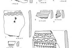 Рис. 39. Раскоп Алгай 1. Находки из слоёв 29 (1-3), 30 (4-6), 31 (7-10), 32 (11, 12 и 33 (13)