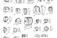 Рис. 12. Поселение Орошаемое, раскоп Алгай 1. Находки из верхней части неолитиче-ского слоя. 1-7, 9, 10, 12-29 – кремень; 8, 11 – кварцит; 32, 33 – ископаемая раковина