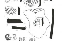 Рис. 13. Поселение Орошаемое, раскоп Алгай 1. Находки из нижней части неолитического слоя. 1-11 – керамика; 12-16 – кремень; 17-20 – кварцит