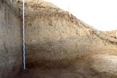 Рис. 18. Поселение Орошаемое. Стратиграфия раскопа Алгай 2 по линии В-Г