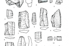 Рис. 4. Поселение Орошаемое, раскоп Орошаемое. Каменные предметы из среднего (прикаспийского) слоя. 1-16 – кварцит