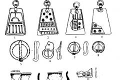 Рис. 10. Инясево. Вещевой комплекс из погребений и сборов на поверхности: 1-4, 6 – погребение 1; 5 – погребение 5; 7,11 – погребение 6; 8,12-15 – сборы на поверхности; 9 – погребение 7; 10 – погребение 2. 1-4, 6, 8, 11-13 – бронза; 5, 7 – железо; 9-10 – керамика; 14-15 – стекло