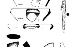 Рис. 5. Шапкино I, дюна 5, раскоп 3. Вещевой комплекс из культурного слоя (1, 4, 6-8) и заполнения ямы 5 (2-3, 5). 1-4, 7 – лепная лощёная керамика, 5 – стекло, 6 – железо, 8 – фрагмент пряслица из стенки красноглиняного сосуда