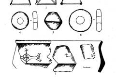 Рис. 6. Шапкино II, раскоп 1. Вещевой комплекс из постройки (1-2, 8) и культурного слоя (3-7). 1 – бронза, 2 – стекло, 3 – гагат, 4-6 – глина, 7-8 – керамика