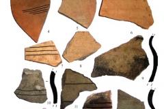 Рис. 6. 1-8 - красноглиняная керамика; 9-16 – стенки сосудов с линейным орнаментом с чёрной и бурой поверхностью из котлована 1