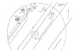 Рис. 36. Новопокровка 2. План кургана 3 (1) и керамика из погребений 1 (2) и 2 (3).