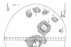 Рис. 43. Новопокрвка 2. План кургана 4 (1) и стратиграфия (2).