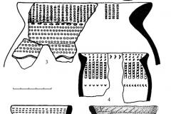 Рис. 2. Энеолитическая керамика из подкурганных захоронений степного Поволжья:  1, 2 – Политотдельское 12/15; Бережновка II 9/20-21; 4 – Ровное 3/5; 5 – Бережновка I 5/22; 6 – Паницкое 6Б/6