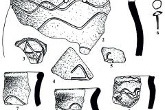 Рис. 14. Никольевка II. Керамика (1-5, 7-13), изделия из железа (6) и бронзы (14)