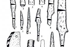 Рис. 7. Городище Никольевка. Изделия из железа (1-8, 10-12) и камня (9)