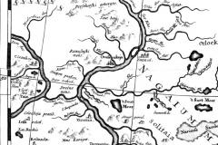 Рис. 1. Фрагмент карты Н. Витсена 1687 года с Увешенской станицей и левобережным Саратовом