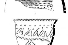 Рис. 12. Разнобрычка. Ямочно-гребенчатая керамика (1-7)