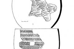 Рис. 21. Разнобрычка. Погребение 1. 1 –  кварцитовый наконечник стрелы, 2 – кварцитовый скребок