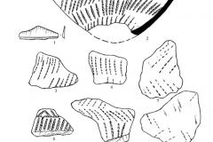 Рис. 6. Разнобрычка. Накольчато-гребенчатая (1, 3) и накольчатая (2, 4-6) керамика